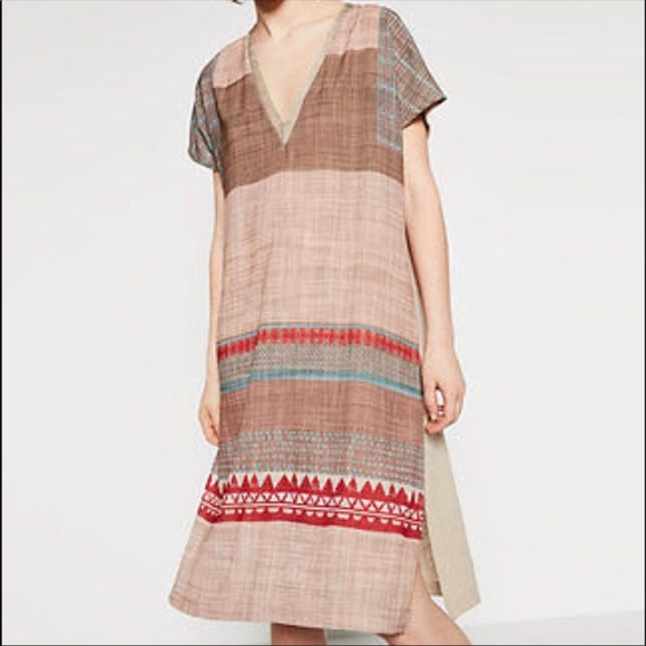 ba42a179 Zara Dresses | Tribal Ethnic Boho Chic Linen Shift Dresseuc | Poshmark